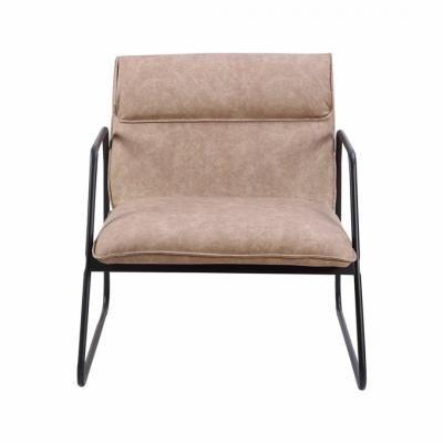 Fém vázas műbőr fotel, világosbarna - TEXAS
